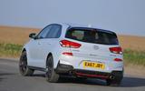 Hyundai i30 N 2018 UK review cornering rear