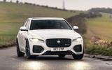 10 Jaguar XF 2021 UK first drive review cornering front