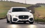 10 Jaguar XF 2021 UK first drive review cornering front