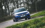 10 Volkswagen Tiguan R 2021 UK first drive review cornering front