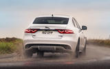 11 Jaguar XF 2021 UK first drive review cornering rear
