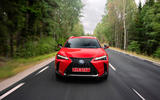 Lexus UX 250h F Sport 2018 first drive review on the road nose