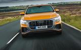 12 Audi Q8 TFSI e 2021 uk FD on road nose
