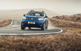 12 Dacia Duster diesel 4x4 2021 UK first drive review cornering front