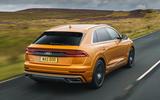 13 Audi Q8 TFSI e 2021 uk FD on road rear
