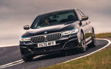 BMW 5 Series M550i 2020 UK first drive - cornering front