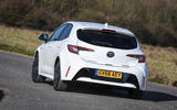 Toyota Corolla hatchback 1.8 hybrid 2019 UK review - on the road rear