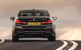 BMW 5 Series M550i 2020 UK first drive - cornering rear