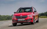 14 Skoda Kamiq Monte Carlo 2021 UK first drive cornering front
