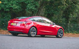 Tesla Model 3 Standard plus 2020 UK first drive review - on the road rear