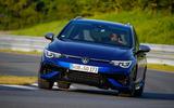 14 Volkswagen Golf R Estate 2021 first drive cornering nose
