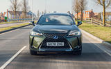 15 Lexus UX300e 2021 UK first drive review on road nose