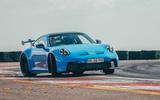 15 Porsche 911 GT3 2021 UK first drive review cornering front
