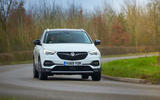 Vauxhall Grandland X Hybrid4 2020 UK first drive review - cornering front