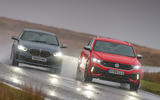 BMW M135i and VW T-Roc R - tracking front