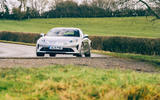 16 Alpine A110 Legende GT 2021 UK first drive review cornering front