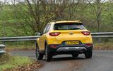 16 Kia Stonic 48v 2021 UK first drive review cornering rear