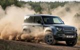 16 Land Rover Defender V8 2021 UK FD dust front