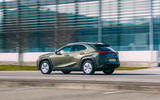 16 Lexus UX300e 2021 UK first drive review on road rear