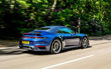 Porsche 911 Turbo S Cabriolet 2020 UK first drive review - on the road rear
