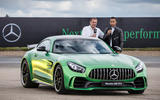 Lewis Hamilton and Tobias Moers with the Mercedes-AMG GT R