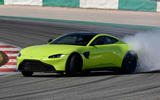 Aston Martin Vantage smoking tyres front right