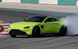Aston Martin Vantage smoking tyres front right