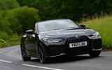 17 BMW 4 Series M440i Convertible 2021 UK FD on road roof up front