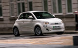 17 Fiat 500e Action 2021 UK FD on road front