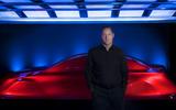 Gorden Wagener, Mercedes-Benz's chief design officer standing before the Aesthetics A sculpture