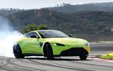 Aston Martin Vantage smoking tyres front left