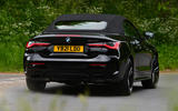 18 BMW 4 Series M440i Convertible 2021 UK FD on road roof up rear