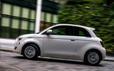 18 Fiat 500e Action 2021 UK FD on road side