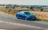 Honda Civic saloon 2018 UK first drive review cornering front