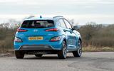 18 Hyundai Kona Electric 2021 UK first drive review cornering rear