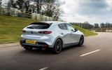 18 Mazda 3 e Skyactiv X 2021 UK fd tracking rear