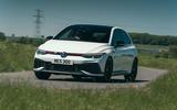 18 Volkswagen Golf GTI Clubsport 45 2021 UK FD cornering front