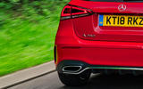 Mercedes-Benz A-Class A250 2018 UK review rear end close-up