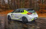 Vauxhall Corsa-e rally car side rear