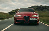 Alfa Romeo Giulia Quadrifoglio 2020 UK first drive review - on the road nose