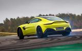 Aston Martin Vantage smoking tyres rear