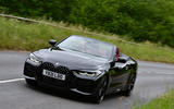 19 BMW 4 Series M440i Convertible 2021 UK FD on road front