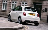 19 Fiat 500e Action 2021 UK FD on road rear