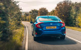 Honda Civic saloon 2018 UK first drive review cornering rear