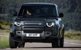 19 Land Rover Defender V8 2021 UK FD cornering front