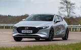 19 Mazda 3 e Skyactiv X 2021 UK fd cornering
