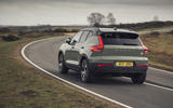 19 Volvo XC40 Recharge P8 2021 UK first drive review on road rear