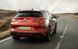 Alfa Romeo Stelvio Quadrifoglio 2018 UK RHD first drive - hero rear