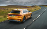 Audi Q8 50 TDI Quattro S-Line 2018 UK first drive hero rear