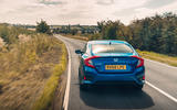 Honda Civic saloon 2018 UK first drive review hero rear